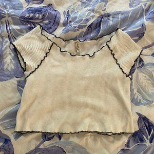 White scalloped crop top from free people
